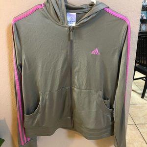 Adidas zip up grey and pink size medium